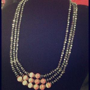 Jewelry - Hematite & Rose Quarts 3-Tier Necklace