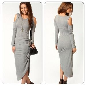 Dresses & Skirts - Sexy Gray Open Shoulder Slit Ruched Midi Dress