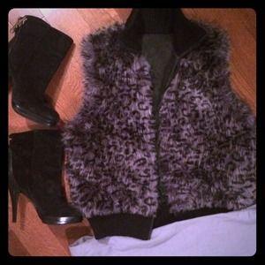 Faux fur grey and black vest