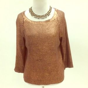 Rosegold waxed coated metallic sweater