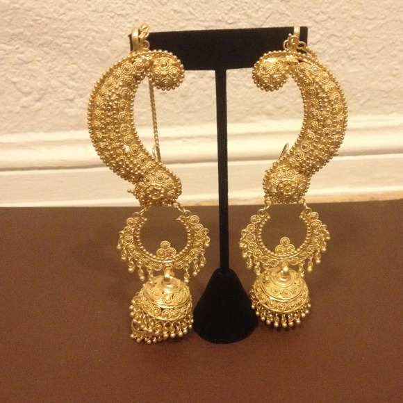 gold indian earrings chandelier
