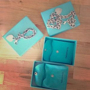 Tiffany and Co sterling silver heart tag charm set
