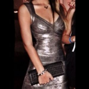 Herve Leger Dresses & Skirts - HERVÉ LÉGER Silver Metallic Aline Bandage Dress