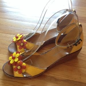 Marc Jacobs Yellow Wedge Sandals