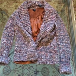 Multi colored brown sweater , open cardigan