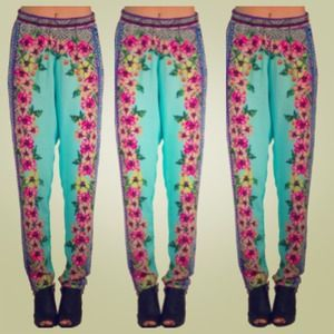 Pants - Turquoise Pink Floral Tribal Lounge Jogger Pants
