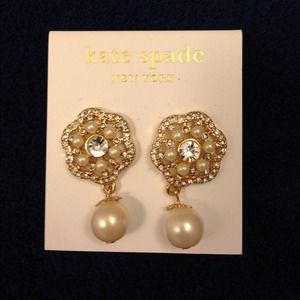 Kate Spade gold clearstone pearl drop earrings