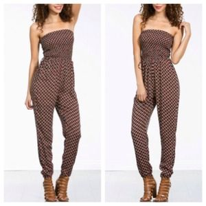 Other - NEW Strapless Navy Red Tribal Print Harem Jumpsuit