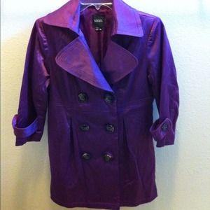 XOXO plum jacket, 3/4 sleeve, 6 button front,satin