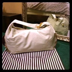 Cream Napa Leather Henri Bendel Bag *Auth*