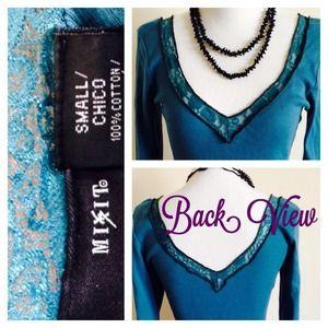 🌞 Teal Blue Double V Neck