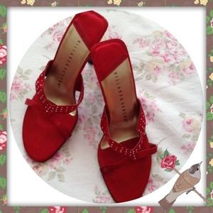 Hillard And Hanson Shoes - HILLIARD & HANSON SATIN AND RHINESTONE MULES 6 1/2