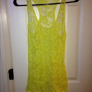 Tops - 🔵Neon yellow floral racer back lace tank top
