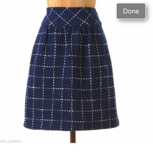 Anthropologie Blue Motif Tweed Skirt