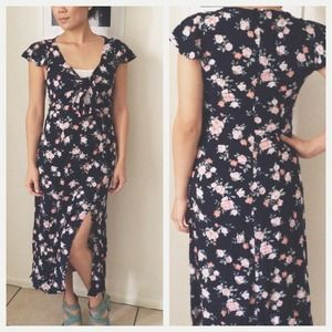 Navy Floral 40s Inspired Dress