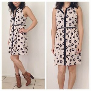 Cream & Black Abstract Floral Shirtdress