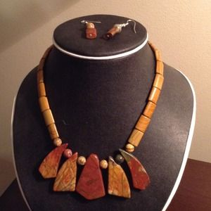 Jewelry - Picasso Jasper Necklace with Earrings