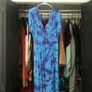 Tie dye watercolor maxi dress