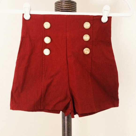 Burgundy high waisted shorts S from !'s closet on Poshmark