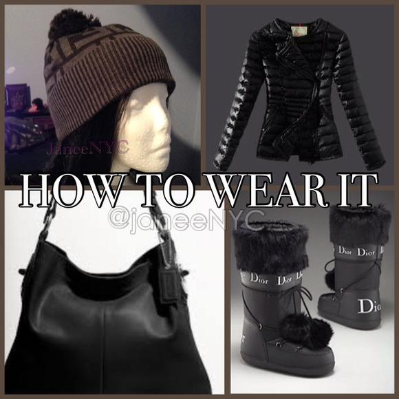 0f590551 FENDI •• Black Grey Wool Logo Zucca Pom Pom Beanie