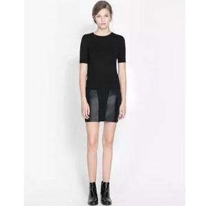Zara combination leather panel mini skirt