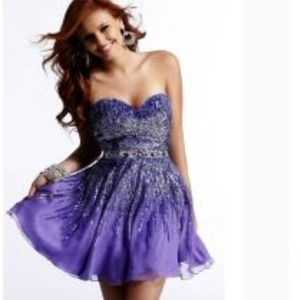 Purple strapless beaded dress