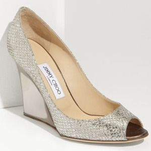 Jimmy Choo 'Bello' Glitter Wedge U.S. 9/ Eur. 39.5