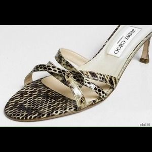 Jimmy Choo Snakeskin Leather Strappy Mules 40
