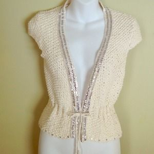 New Cotton knitted vest with silver sequins