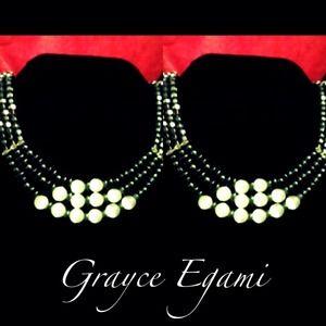 Jewelry - Hematite & Pearl 3-Tier Necklace