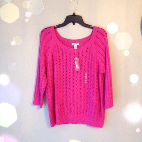 73% off Arizona Sweaters - Knit Spring Sweater Hot Pink 3/4 sleeve ...