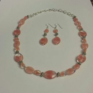 Jewelry - Hand made necklace and earrings Rose Pink