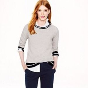 J. Crew Sweaters - JCrew Gray and Navy Tipped Sweatshirt