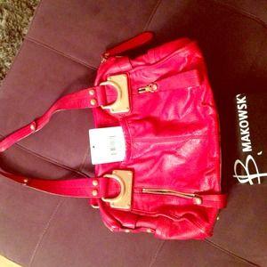 B. Makowsky Red Leather Handbag with Gold Hardware