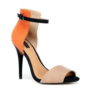 Zara Colorblock Sandal Heel (taupe/orange/black)