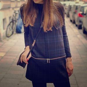 Zara blue checked dress
