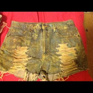 Used painted Levi denim shorts