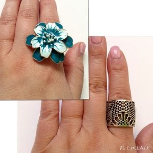Jewelry - Two NWOT Rings: Unique Cutout & Teal Flower