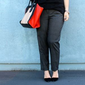 Grey Plaid Pleated Trousers