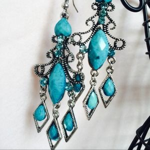 Blue/ turquoise oval chandeliers