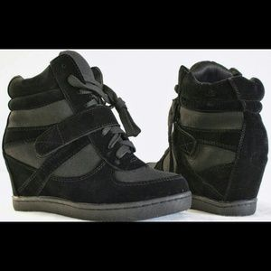 Women's Sneakers High Top Lace Wedge Black Shoes