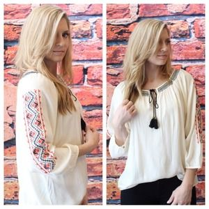 Tops - Embroidered tasseled tunic