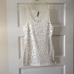 Cute Ivory Beaded Top NWT