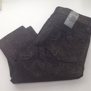 Denim - David Kahn | Black + Gold Paisley Skinny Jeans