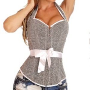 Tops - Sparkly Halter Corset with Pink Ribbon
