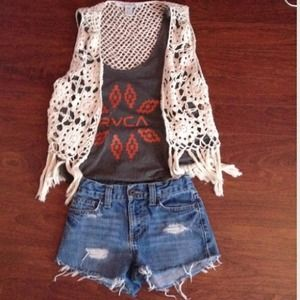 Tops - Lace crochet vest