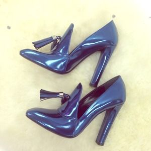 Alexander Wang metallic blue heeled loafers