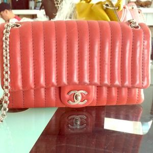 Chanel Red Lambskin Medium Large Flap with Chain