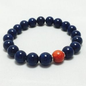 Custom made Bracelet Blue Lapis & Red Coral