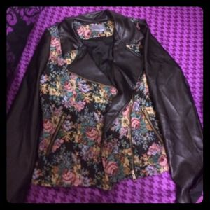 Tinsley Road Jackets & Blazers - Floral and leather jacket